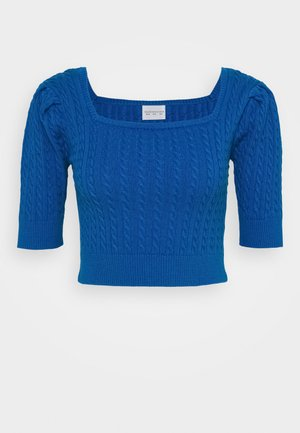CARE CABLE CROP TOP WITH SHORT SLEEVES AND SQUARE NECKLINE - Bluser - petrol blue