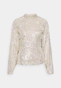 SEQUIN BALLOON SLEEVE - Long sleeved top - silver