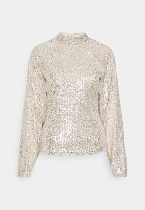 SEQUIN BALLOON SLEEVE - T-shirt à manches longues - silver