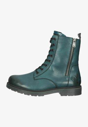 Platform ankle boots - petrol/schwarz