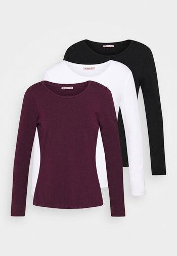 3 PACK - Long sleeved top - black/white/dark red