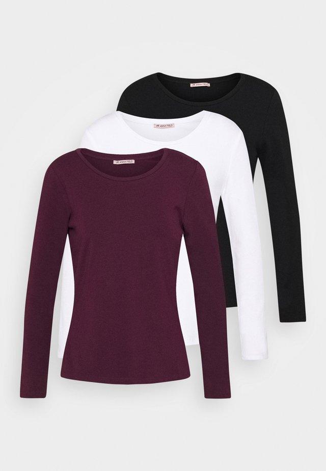3 PACK - Maglietta a manica lunga - black/white/dark red
