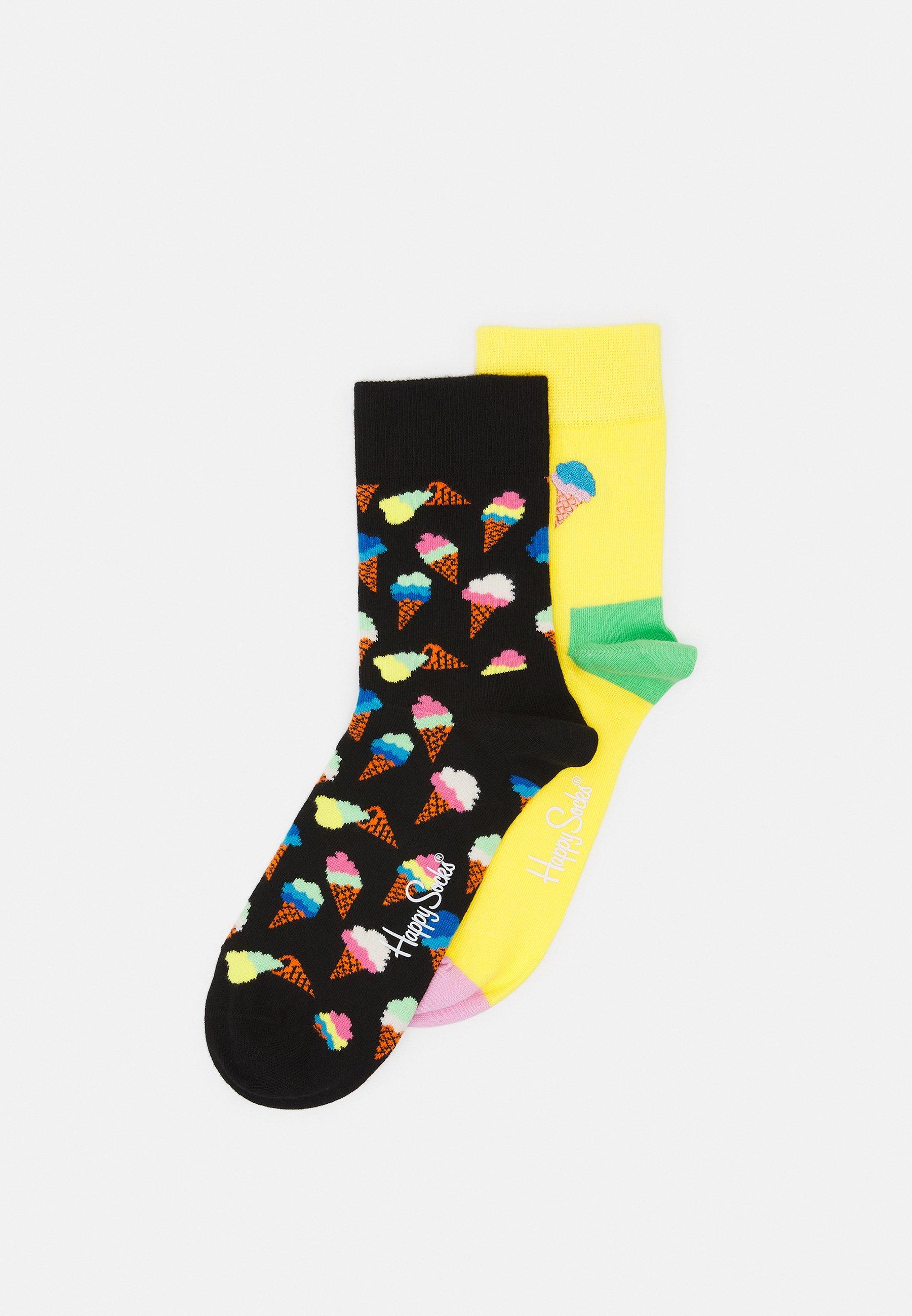 Women EMBROIDERY ICE CREAM HALF CREW SOCK UNISEX 2 PACK - Socks