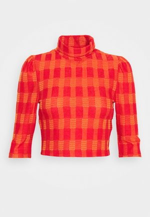 HIGH NECK CROP - T-Shirt print - red/orange
