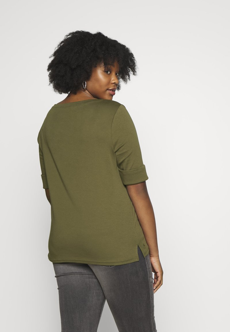 Lauren Ralph Lauren Woman - JUDY ELBOW SLEEVE - Basic T-shirt - dark sage