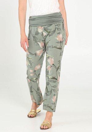 MIT BLUMEN-PRINT - Pantaloni sportivi - khaki