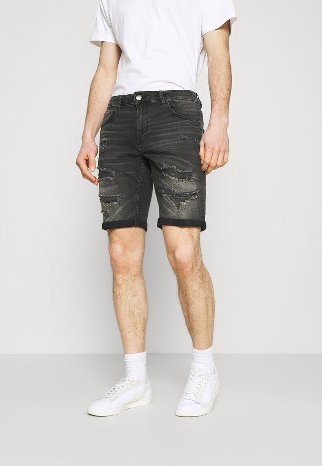 HOP - Jeans Short / cowboy shorts - black destroyed