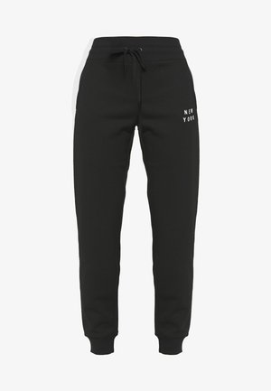 FLOCKED SHADOW LOGOCUFFED - Tracksuit bottoms - black