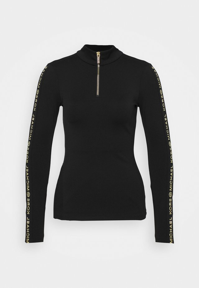 LOGO SKI ZIP - Long sleeved top - black/gold-coloured