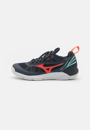 WAVE LUMINOUS - Volleyball shoes - india ink/fiery coral/ice green
