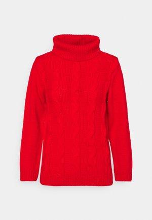 SLIM POLONECK JUMPER - Stickad tröja - bright red