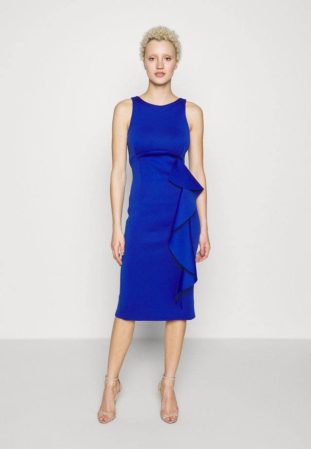 SLEEVELESS FRILL MIDI DRESS - Shift dress - cobalt