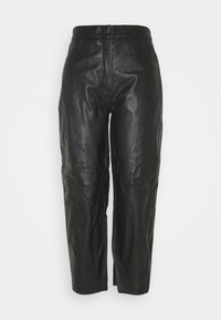 SLFAGNES CROPPED PANT - Leather trousers - black