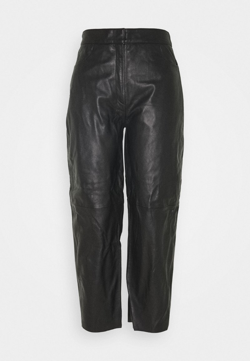 Selected Femme - SLFAGNES CROPPED PANT - Leather trousers - black