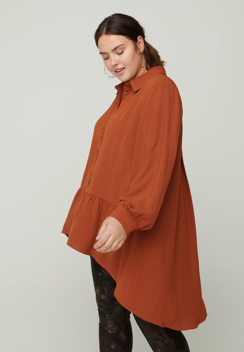 Zizzi - Button-down blouse - brown