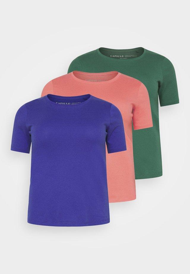 3 PACK - T-shirt basic - navy/palm green