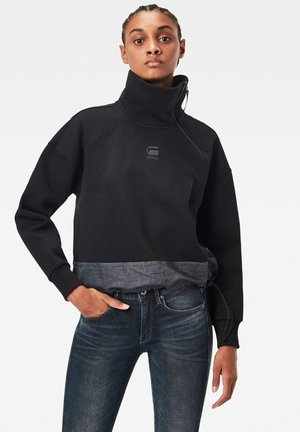 FABRIC MIX ZIP - Jumper - dk black