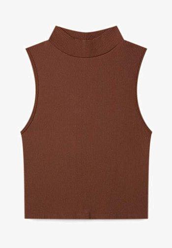 MIT STEHKRAGEN - Top - brown