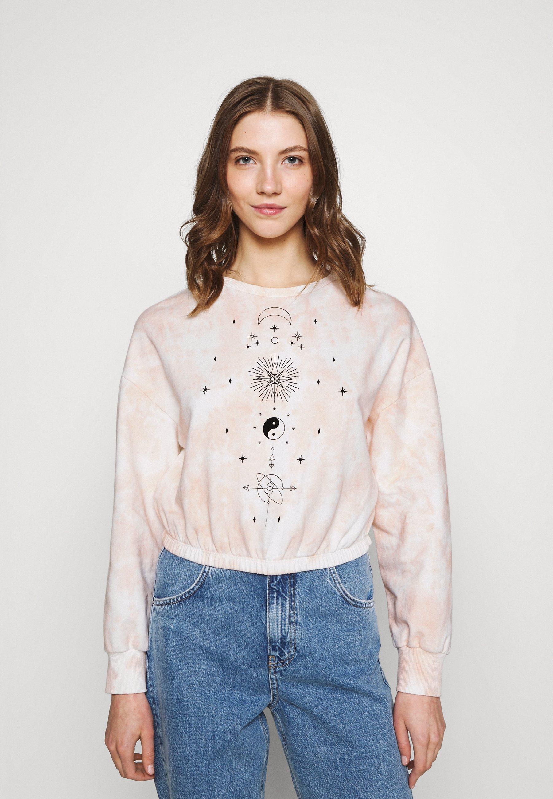 Women Tie Dye Printed Cropped Sweatshirt - Sweatshirt