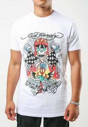 SKULL-RACER T-SHIRT - Print T-shirt - white