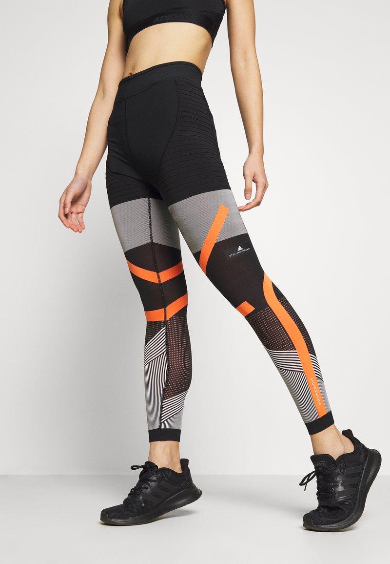 adidas Performance - PARLEY PRIMEKNIT RUNNING HIGH WAIST LEGGINGS - Leggings - black/white/orange