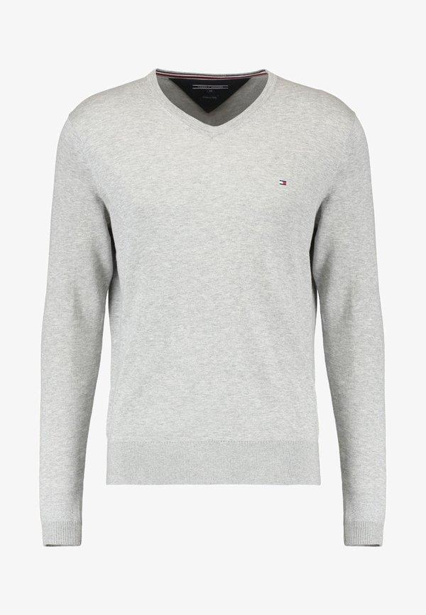 Tommy Hilfiger V-NECK - Sweter - cloud heather/szary Odzież Męska QUCN
