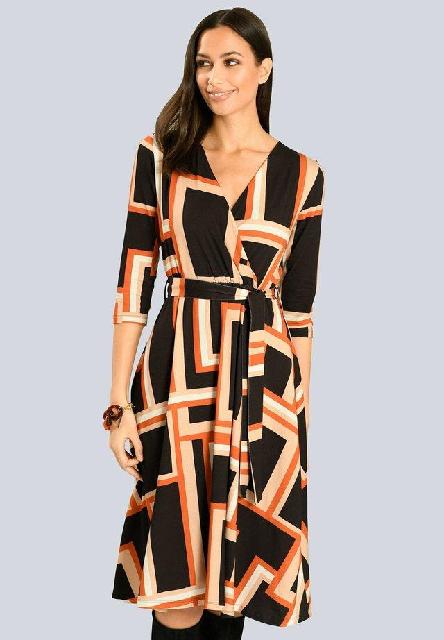 Day dress - schwarz orange