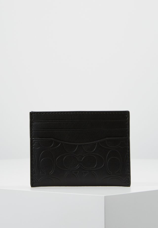 CARD CASE IN EMBOSSED SIGNATURE LEATHER - Peněženka - black