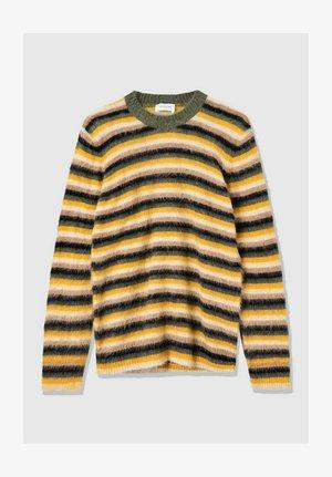 Fleece jumper - olive stripes