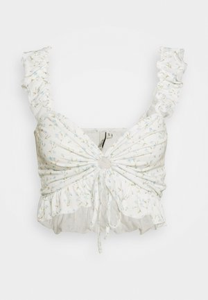 DRAWSTRING CROP - Camicetta - white