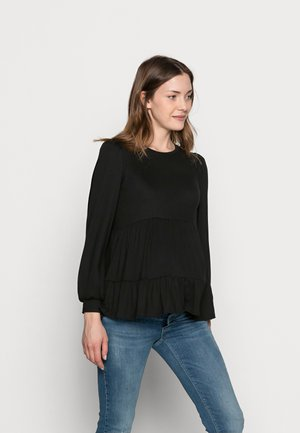 PLAIN PEPLUM - Long sleeved top - black