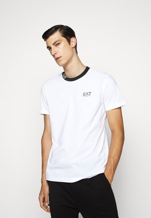 TEE COLLAR LOGO - Print T-shirt - white