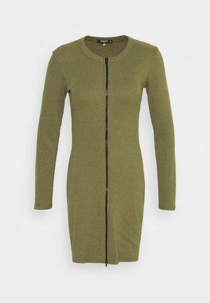 CONTRAST ZIP MINI DRESS - Jerseykjoler - khaki