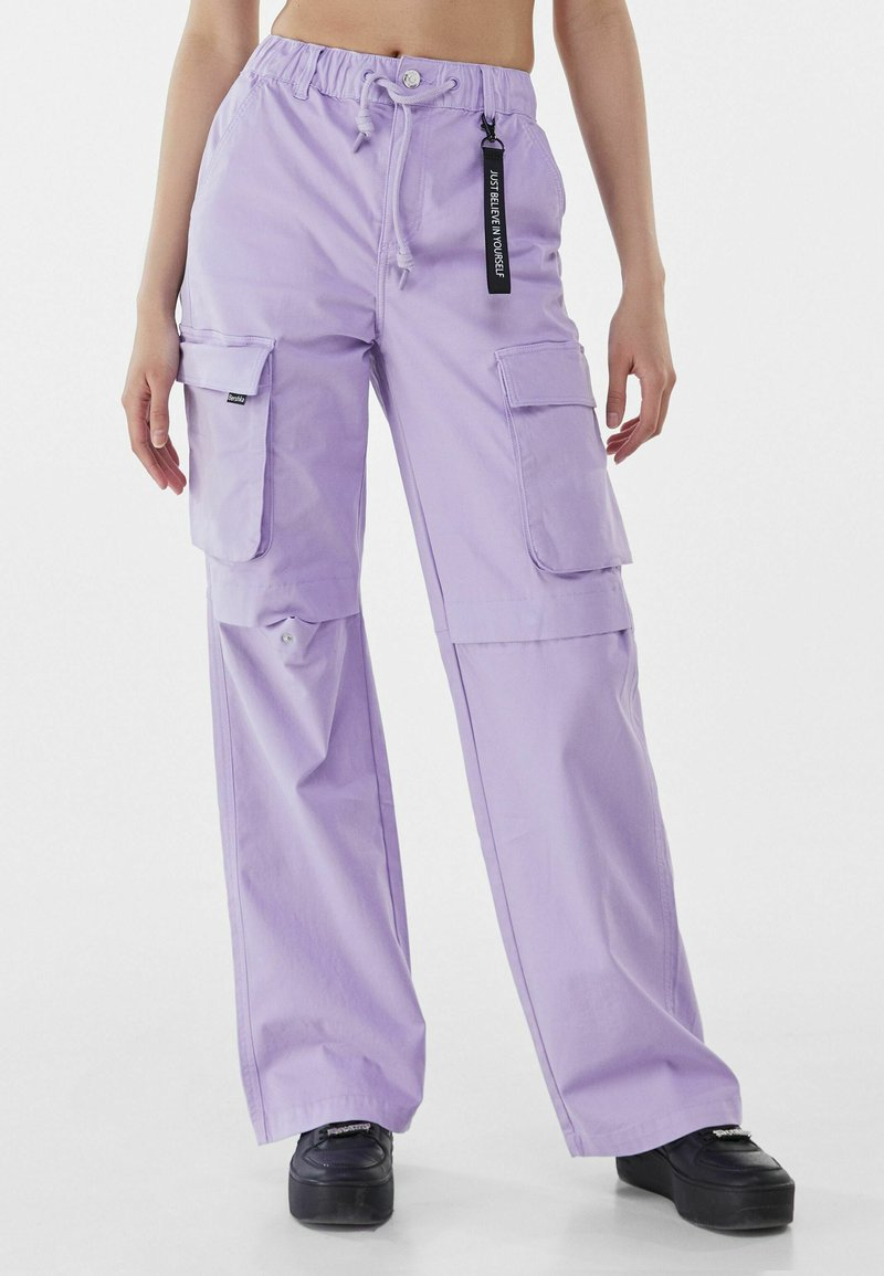 Bershka - Cargo trousers - mauve