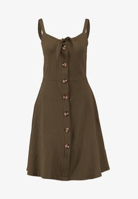 Dorothy Perkins - BUTTON THROUGH BOW CAMI - Žerzejové šaty - khaki - 4