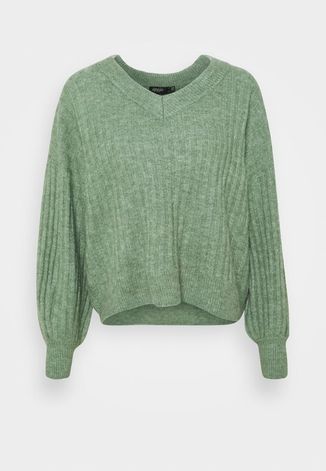 V-NECK - Maglione - hedge green melange