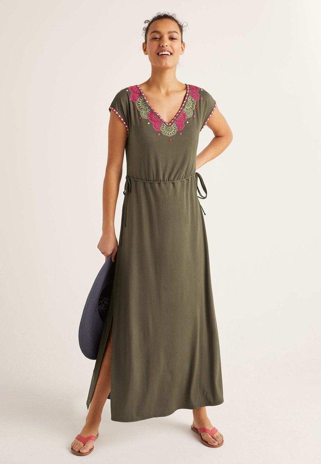 MIT STICKEREI - Maxi dress - classic khaki