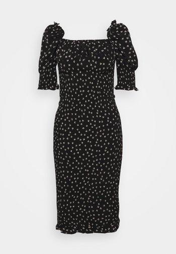 PUFF SLEEVE MIDI DRESS WITH  - Shift dress - black print