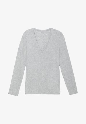 MIT V-AUSSCHNITT AUS STRETCH-BAUMWOLLE - Long sleeved top - grigio melange chiar