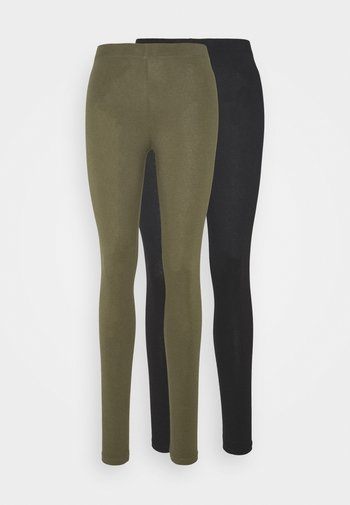 2 PACK - Leggings - Trousers -  black olive