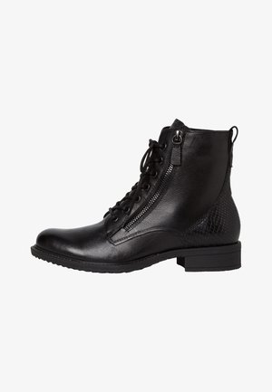 Cowboy/biker ankle boot - black/snake