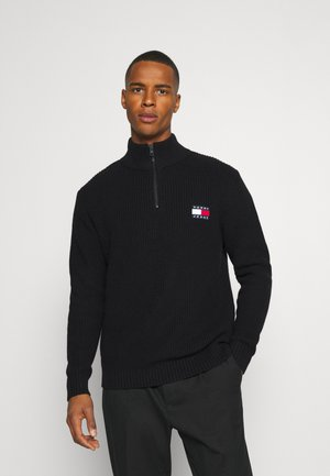 BADGE HALFZIP - Strickpullover - black
