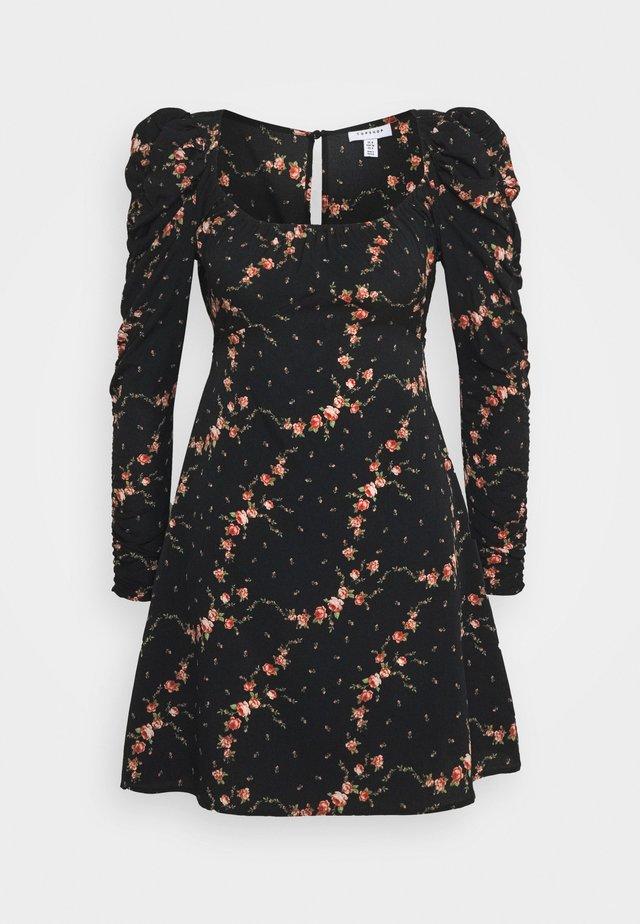 RUCH SLEEVE TEA DRESS - Korte jurk - black
