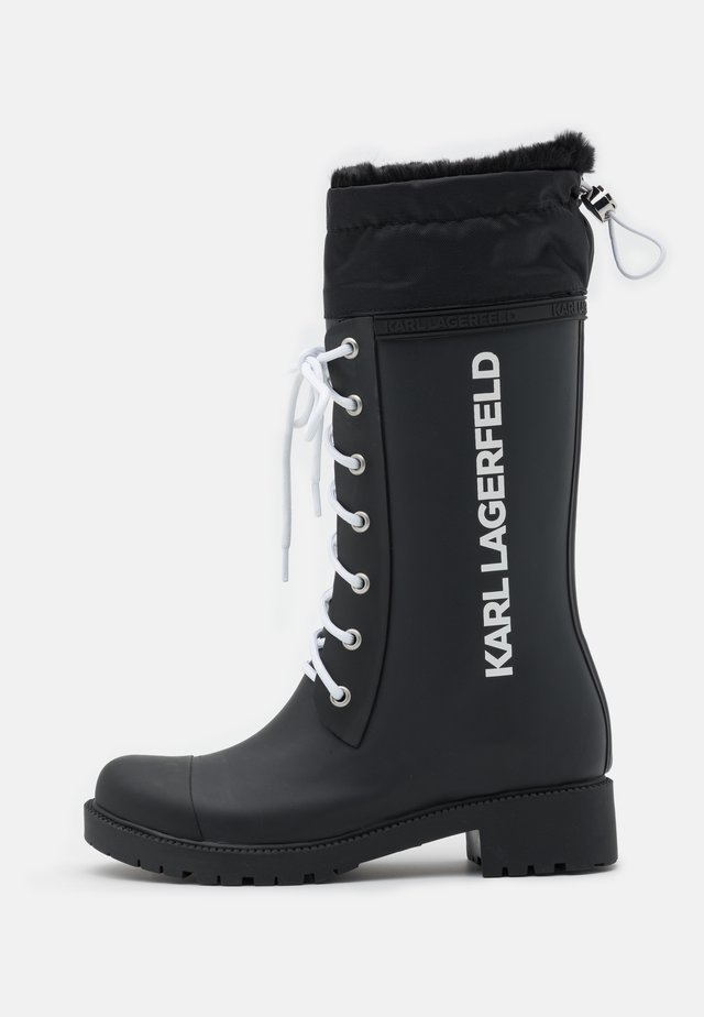 SALVO LACE FRONT HI RAIN BOOT - Kalosze - black