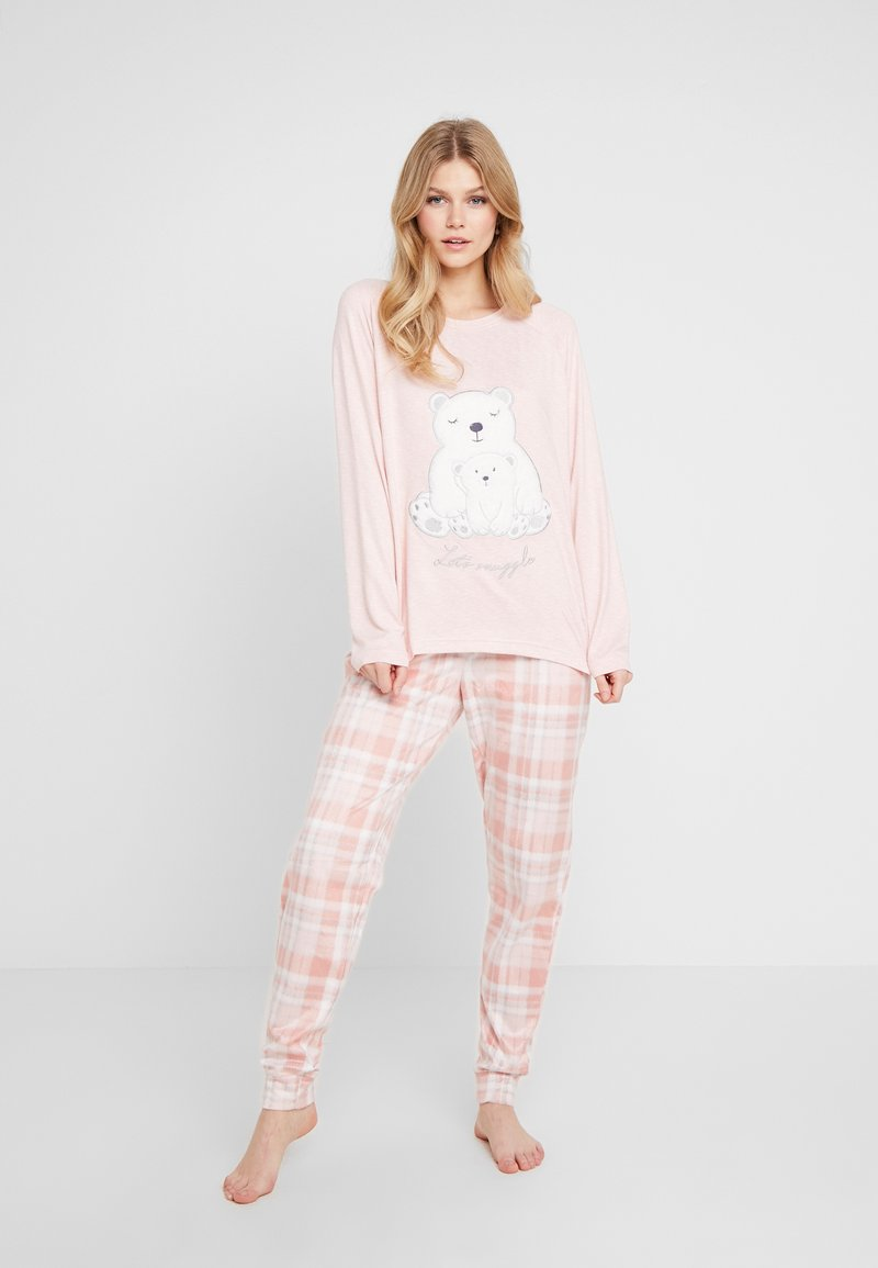 Dorothy Perkins - CHECK POLAR BEAR SET - Pyjamas - pink