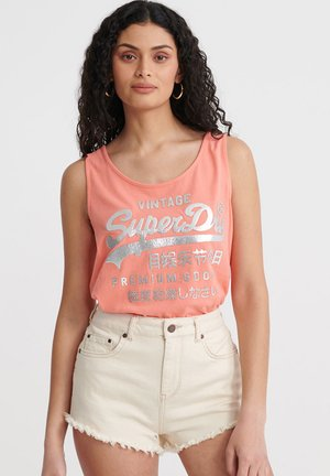 SUPERDRY PREMIUM GOODS METALLIC CLASSIC VEST TOP - Top - deep coral