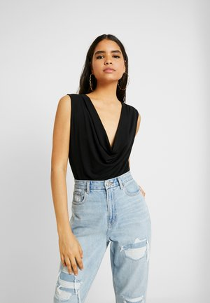 DRAPE NECK BODYSUIT - Top - black
