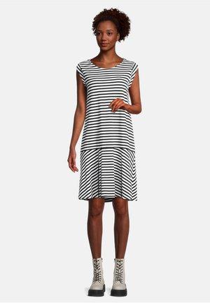 CASUAL KURZARM - Jersey dress - schwarz/weiß