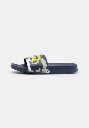 POOL UNISEX - Pantofle - navy/lime