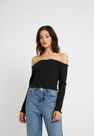 PAMELA REIF LETTUCE HEM BARDOT CROP - Long sleeved top - black